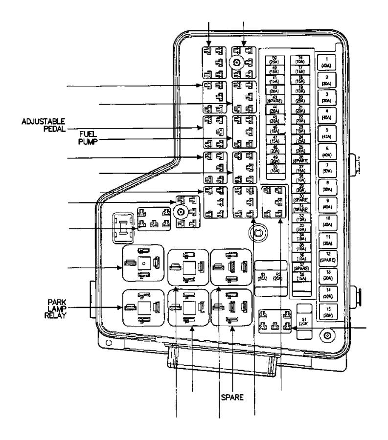 Dodge Ram 2500 Accessory Power Relay  Fuel Pump Relay  Starter Relay