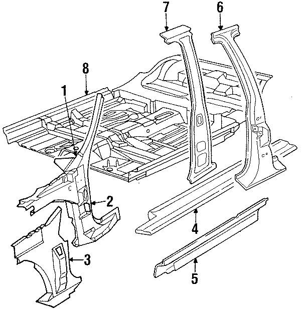 Chrysler Imperial Front Floor Pan  Pillar